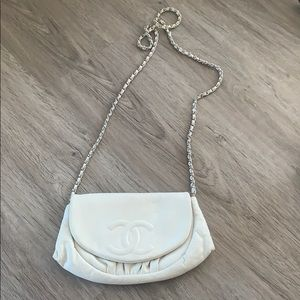 Chanel Ivory Caviar Half Moon Wallet on Chain Bag